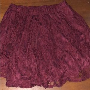 Dresses & Skirts - Maroon lace skater skirt.
